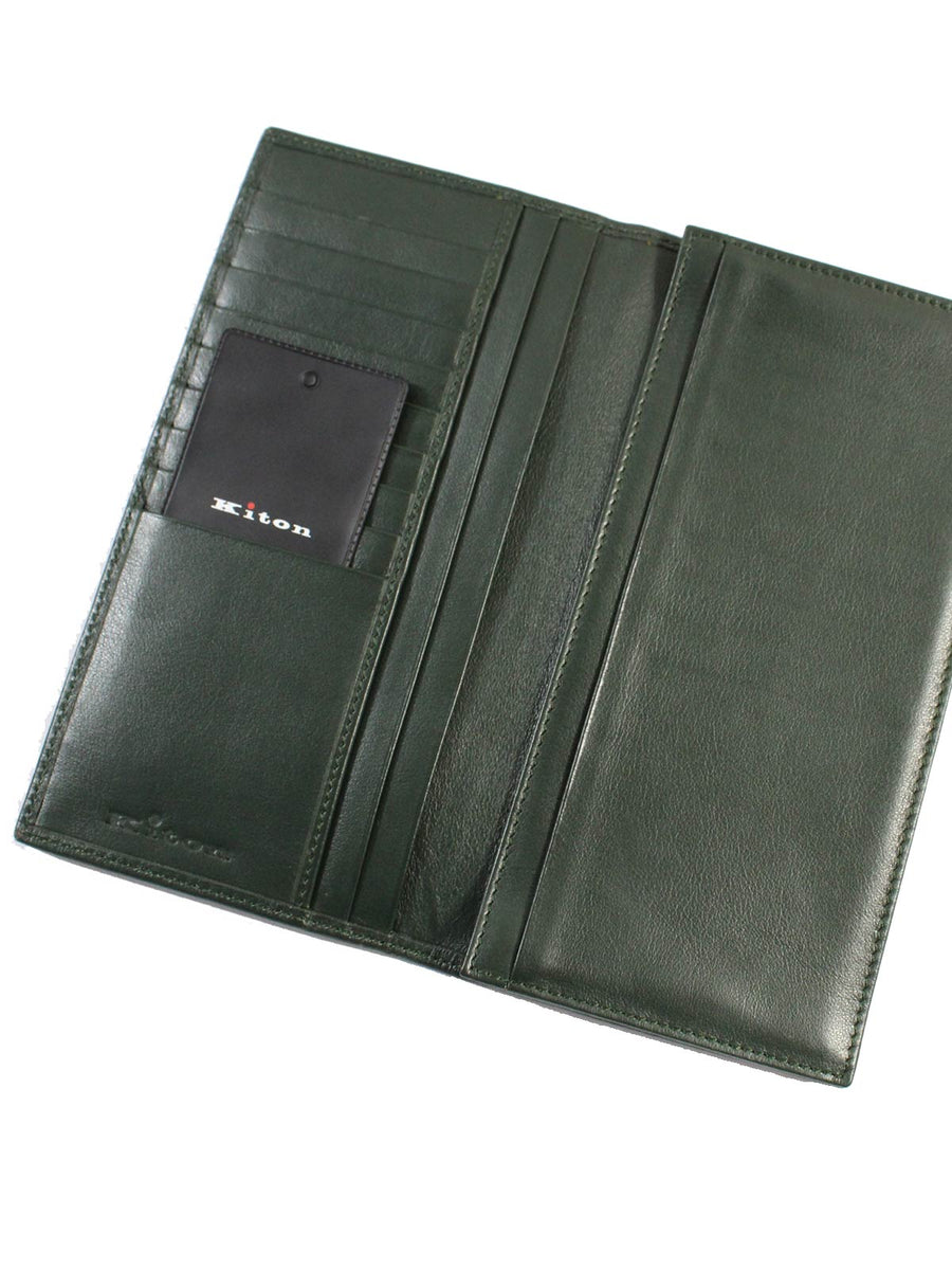 Kiton Leather Wallet - Large Dark Green Smooth Men Wallet -SALE