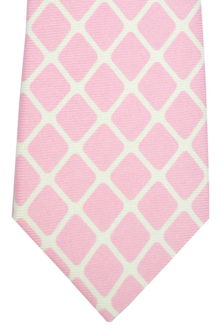 Kiton Sevenfold Tie Pink White Diamonds SALE