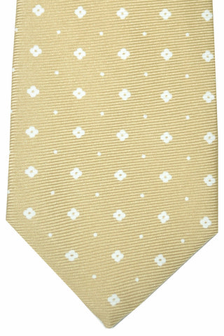 Kiton Sevenfold Tie Cream White Geometric FINAL SALE