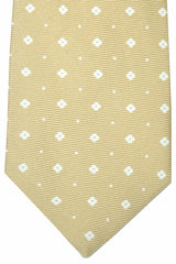 Kiton Sevenfold Tie Cream White Geometric