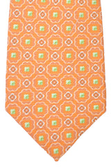 Kiton Tie Orange Copper Lime Geometric Sevenfold