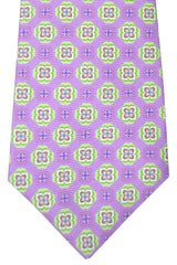 Kiton Tie Lilac Lime Brown Floral Sevenfold