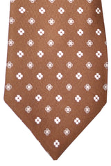 Kiton Tie Brown White Floral Sevenfold