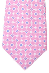 Kiton Tie Dust Pink Navy White Geometric Sevenfold