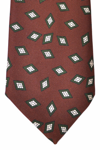 Kiton Sevenfold Tie Brown Green Diamonds SALE