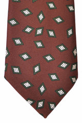 Kiton Sevenfold Tie Brown Green Diamonds