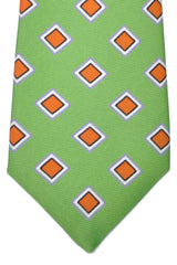 Kiton Sevenfold Tie Green Orange Silver Lilac Diamonds