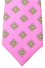 Kiton Sevenfold Tie Pink Taupe Navy Diamonds