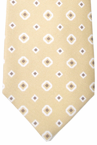 Kiton Sevenfold Tie Cream Taupe White Geometric SALE