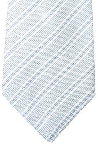 Kiton Sevenfold Tie White Gray Stripes FINAL SALE