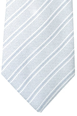 Kiton Sevenfold Tie White Gray Stripes