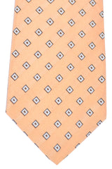 Kiton Tie Peach Taupe Gray Diamonds - Sevenfold