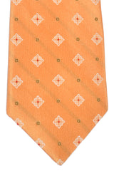 Kiton Tie Peach Brown Red Silver Geometric - Sevenfold