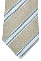 Kiton Tie Taupe Silver Teal Stripes - Sevenfold
