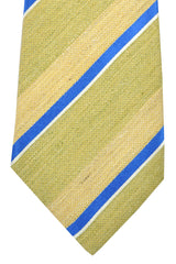 Kiton Tie Mustard Gold Royal Blue Silver Stripes - Sevenfold