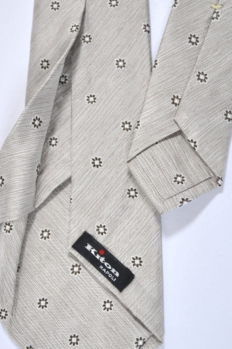 Kiton Sevenfold Tie Cream Silver Brown Geometric