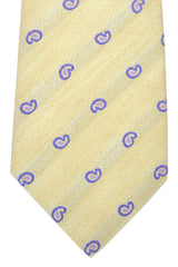 Kiton Sevenfold Tie Cream Purple Paisley