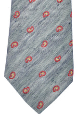 Kiton Sevenfold Tie Navy Silver Red Paisley