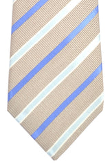 Kiton Tie Silver Purple Blue Stripes - Sevenfold