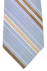 Kiton Tie Navy Silver Brown Tan Stripes - Sevenfold