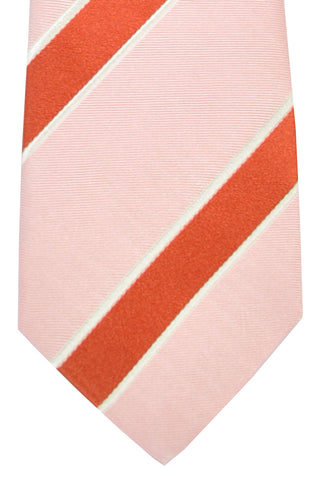 Kiton Tie Pink Silver Coral Stripes - Sevenfold
