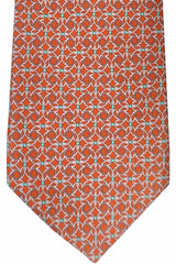 Gucci Tie Rust Orange Gray Green Geometric