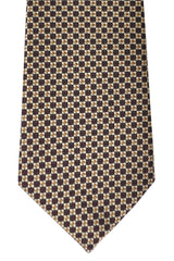 Gucci Tie Chocolate Brown Olive Silver Geometric