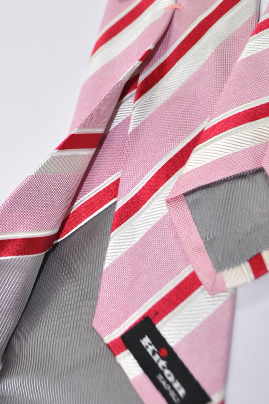 Kiton Sevenfold Tie Pink Red White Stripes