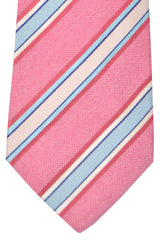 Kiton Tie Pink Blue Stripes - Sevenfold Necktie