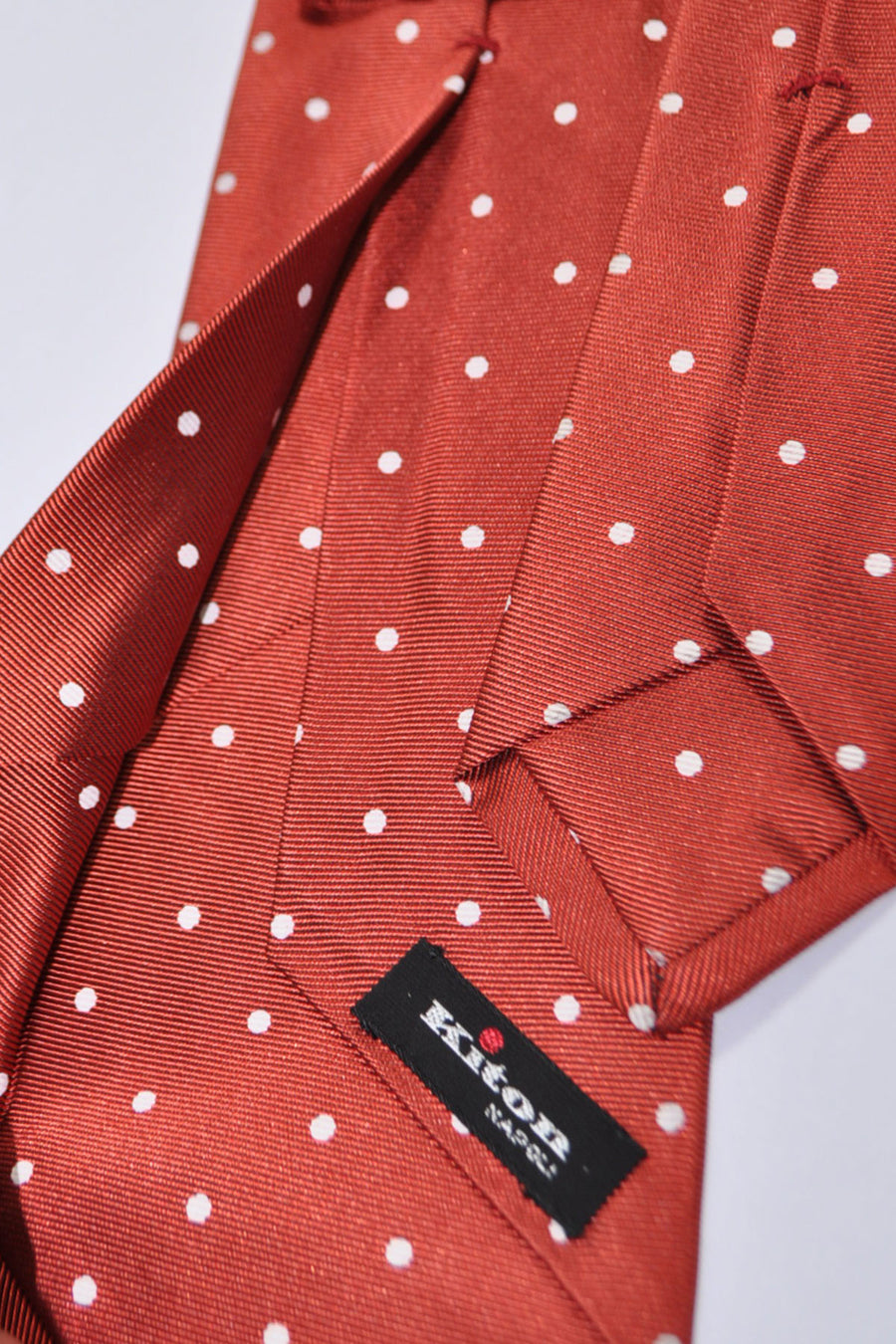 Kiton Tie Rust Orange White Dots - Sevenfold Necktie