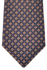 Kiton Tie Purple Brown Sky Blue Orange Geometric - Sevenfold Necktie