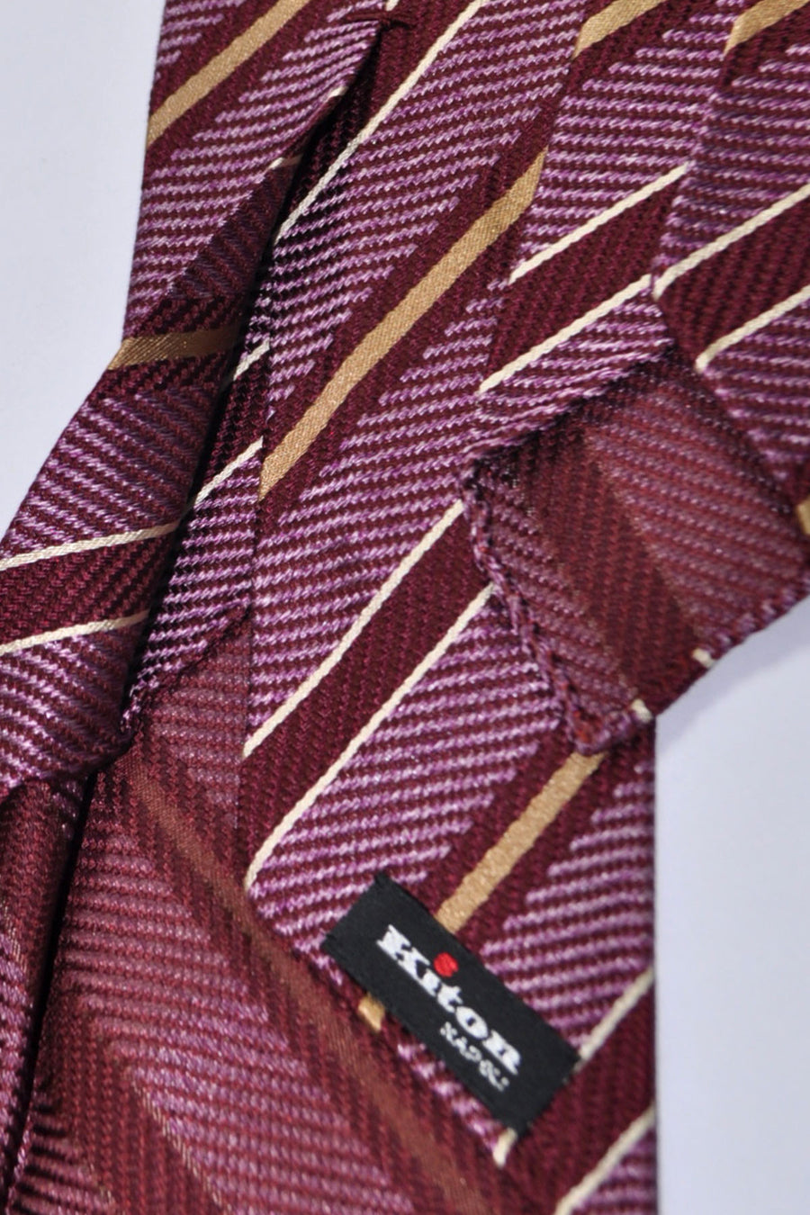 Kiton Tie Purple Gold White Stripes Unlined Sevenfold Necktie
