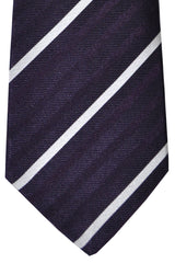 Kiton Tie Purple Silver Stripes - Sevenfold Necktie