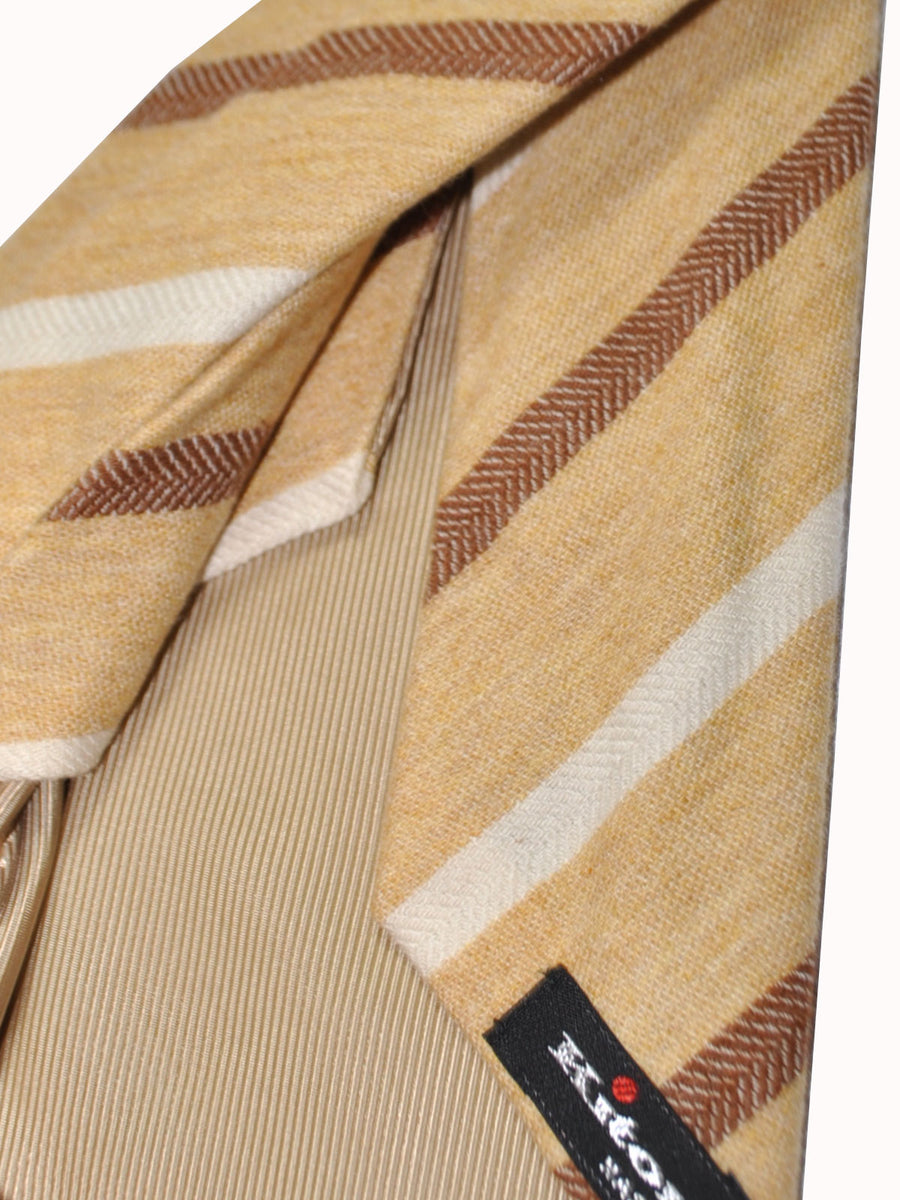 Kiton Wool Tie Mustard Cream Stripes - Sevenfold Necktie