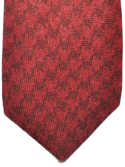 Kiton Sevenfold Tie Brown Red Houndstooth