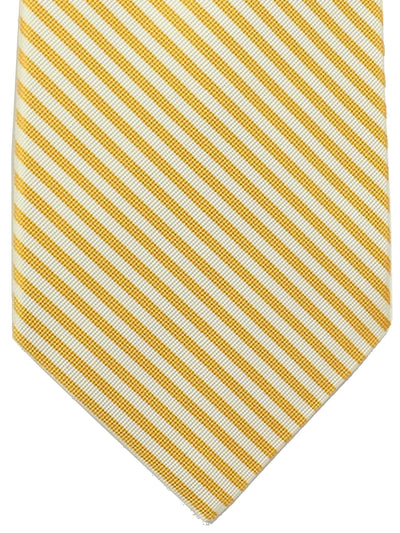 Kiton Sevenfold Tie Orange White Stripes