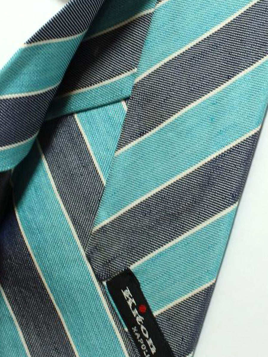Kiton Sevenfold Tie Aqua Navy Stripes