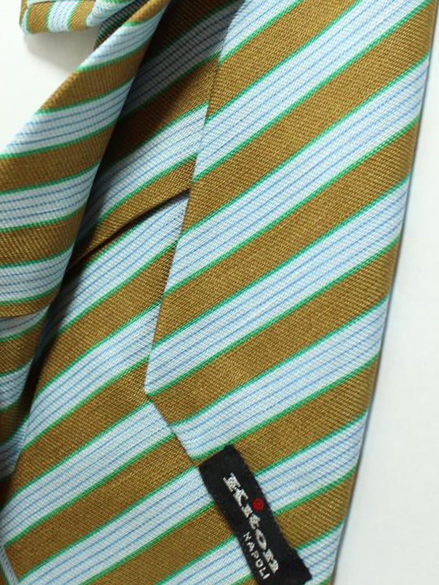Kiton Sevenfold Tie Olive Blue Green Stripes