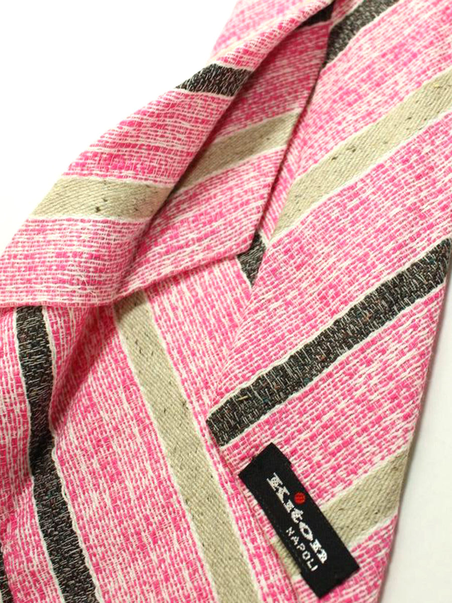 Kiton Silk Tie Pink Cream Gray Stripes - Sevenfold Necktie