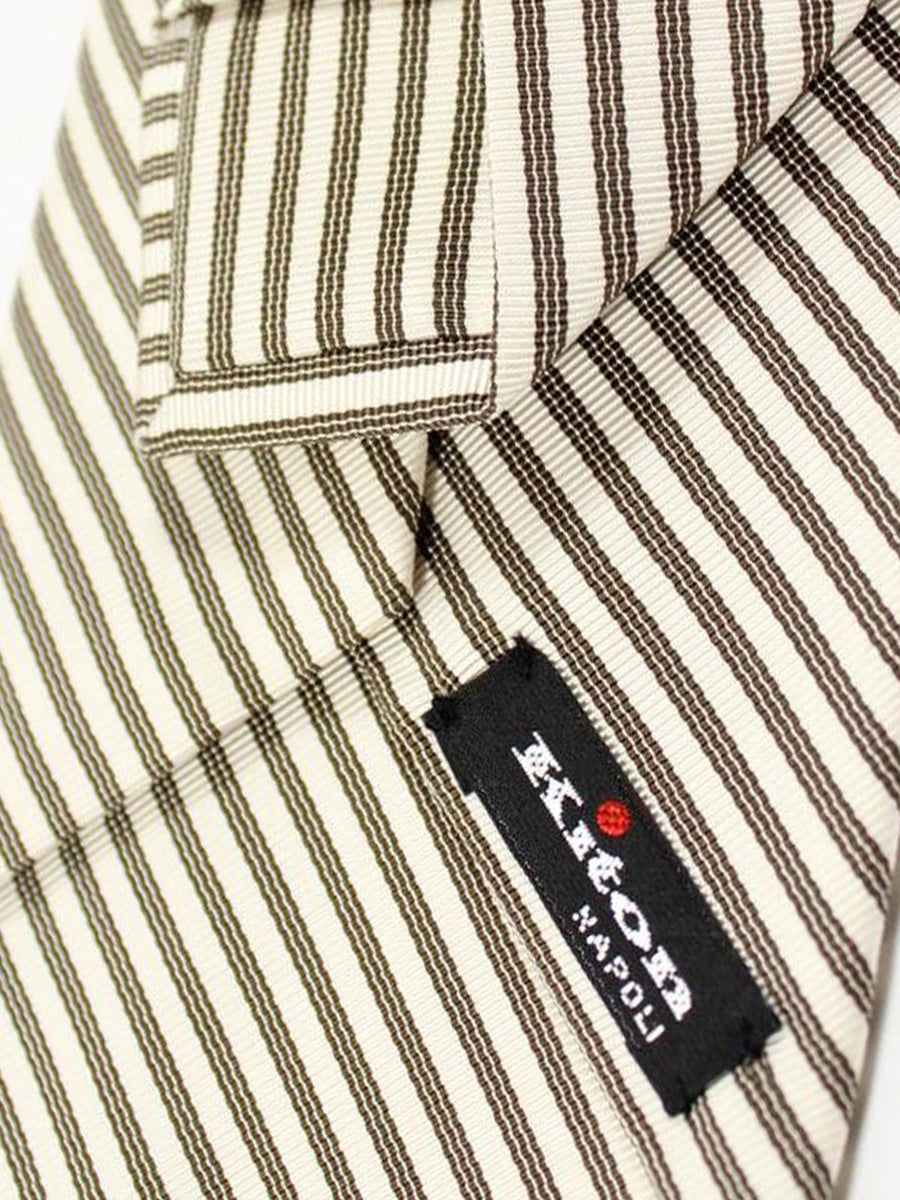 Kiton Silk Tie White Silver Black Stripes - Sevenfold Necktie