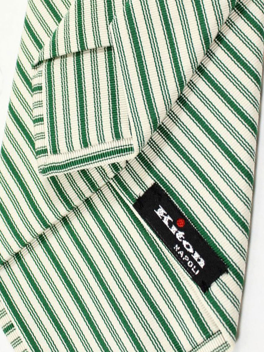 Kiton Silk Tie White Silver Green Stripes - Sevenfold Necktie