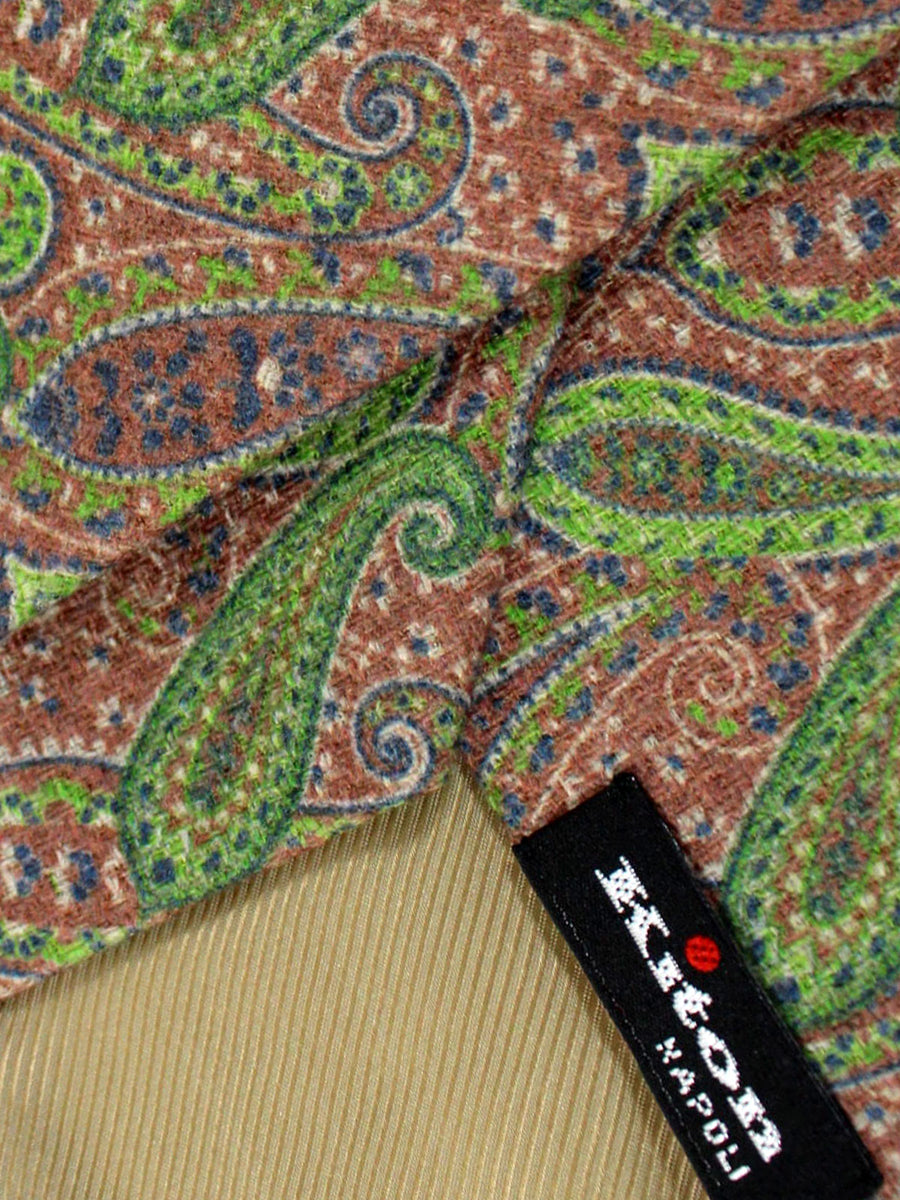 Kiton Tie Brown Green Paisley Sevenfold Necktie