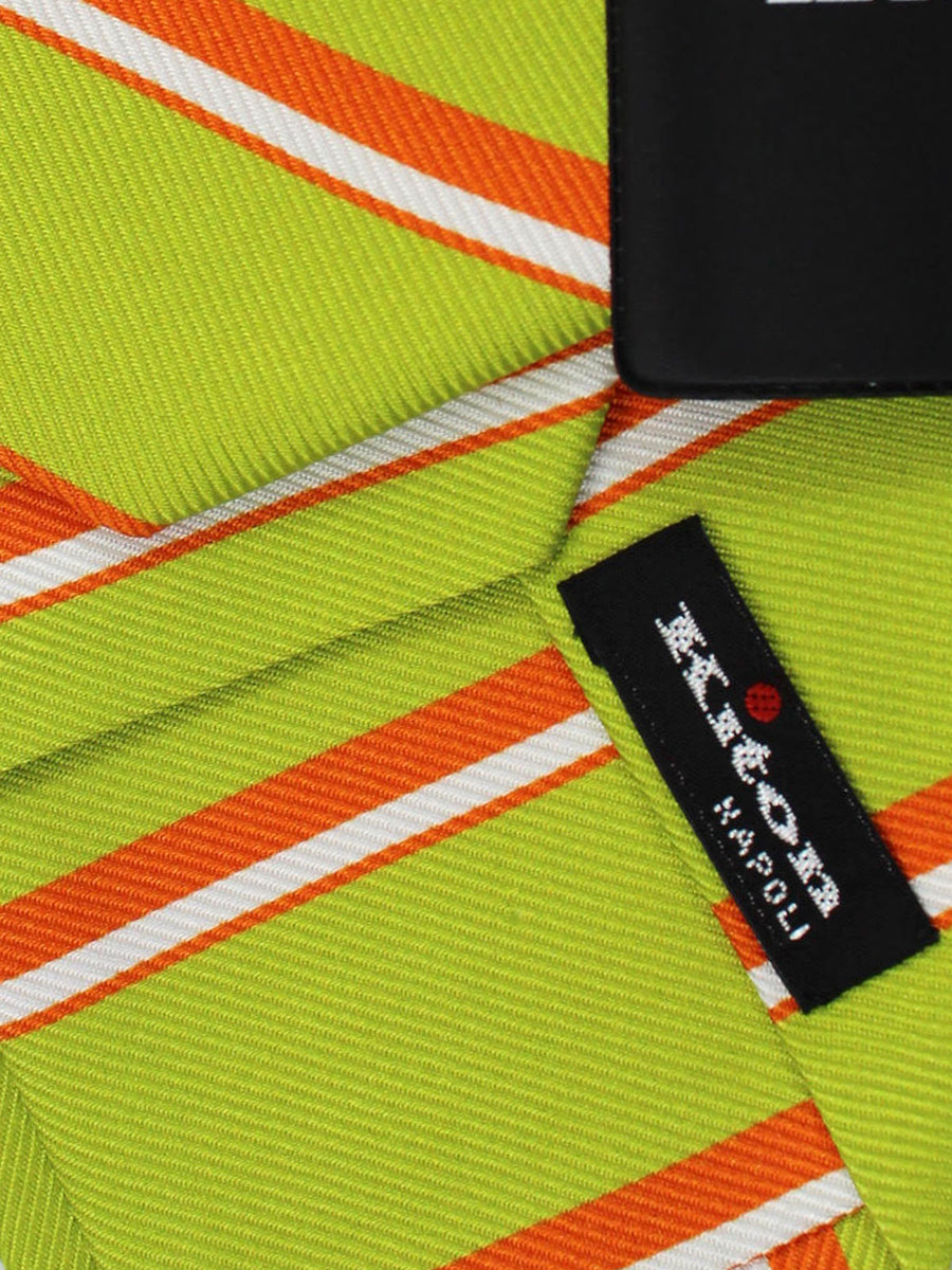 Kiton Tie Lime Orange Stripes - Sevenfold Necktie