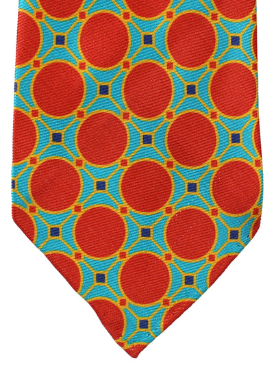 Kiton Silk Tie Aqua Orange Geometric - Unlined Sevenfold Necktie