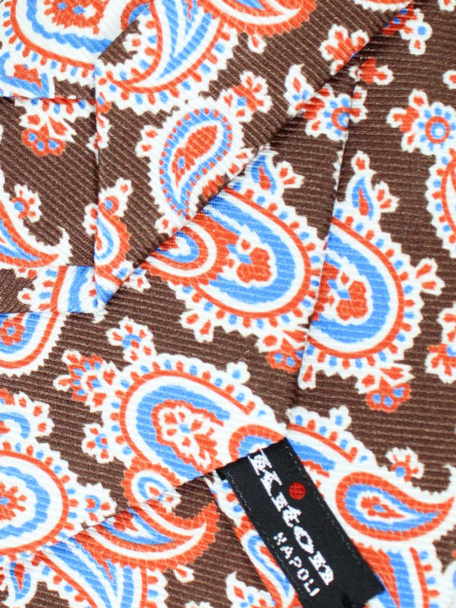 Kiton Tie Brown Blue Paisley - Sevenfold Necktie
