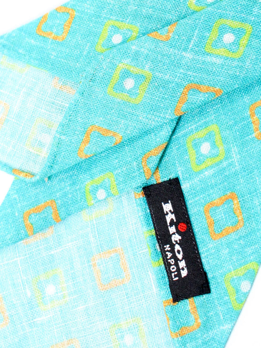 Kiton Necktie Aqua Lime Orange Geometric - Unlined Sevenfold Necktie