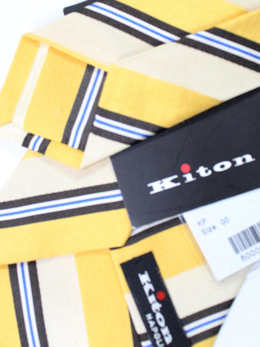 Kiton Tie Mustard Yellow Stripes - Sevenfold Necktie