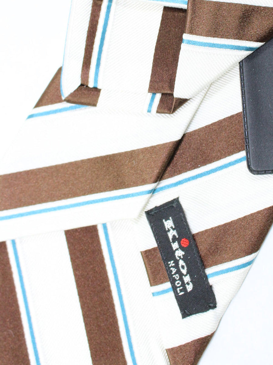 Kiton Tie White Brown Aqua Stripes - Sevenfold Necktie