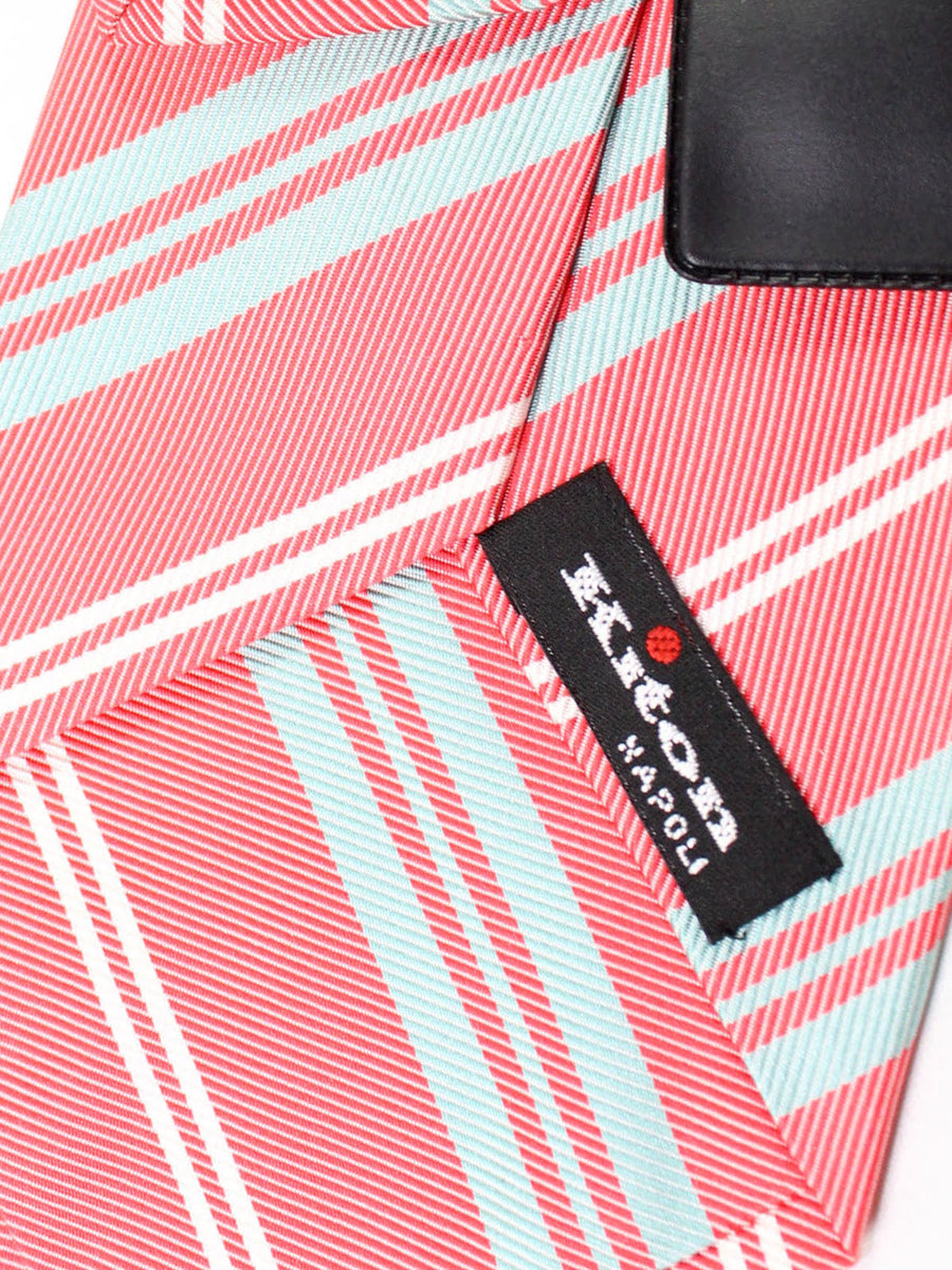 Kiton Tie Pink Gray White Stripes - Sevenfold Necktie