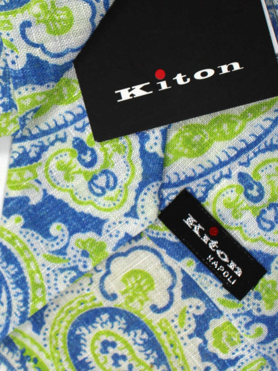 Kiton Tie Royal Lime White Paisley - Sevenfold Necktie